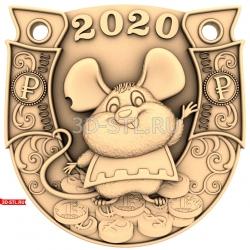 """Новый Год 2020 """"Крыса #10""""   STL - 3D модель для ЧПУ"""