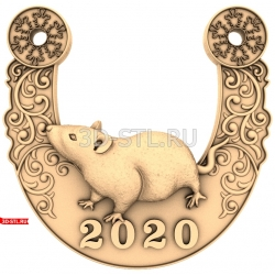 """Новый Год 2020 """"Крыса #14""""   STL - 3D модель для ЧПУ"""