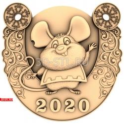 """Новый Год 2020 """"Крыса #15""""   STL - 3D модель для ЧПУ"""