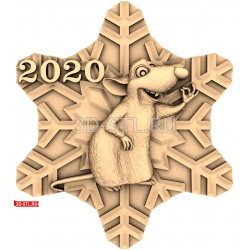 """Новый Год 2020 """"Крыса #19""""   STL - 3D модель для ЧПУ"""