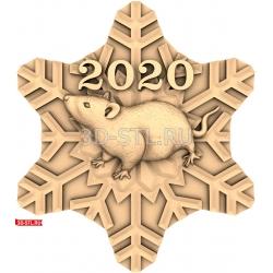 """Новый Год 2020 """"Крыса #20""""   STL - 3D модель для ЧПУ"""