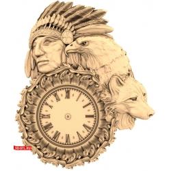 Часы Индеец орёл и лисица